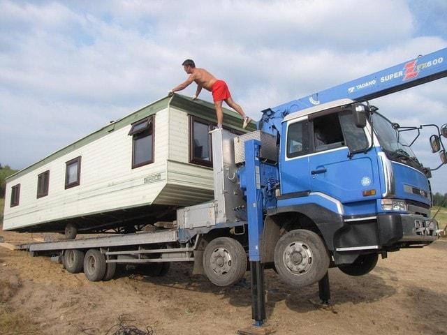 Перевозка модульных домов краном манипулятором